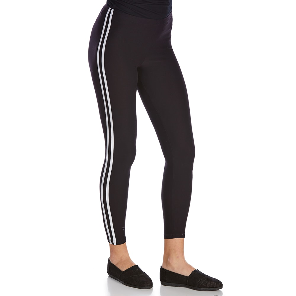 IKEDDI Juniors' Double Stripe Solid Leggings - BLACK/WHITE