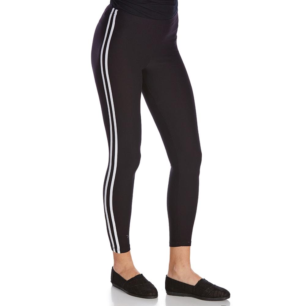 IKEDDI Juniors' Double Stripe Solid Leggings - BLACK/WHITE