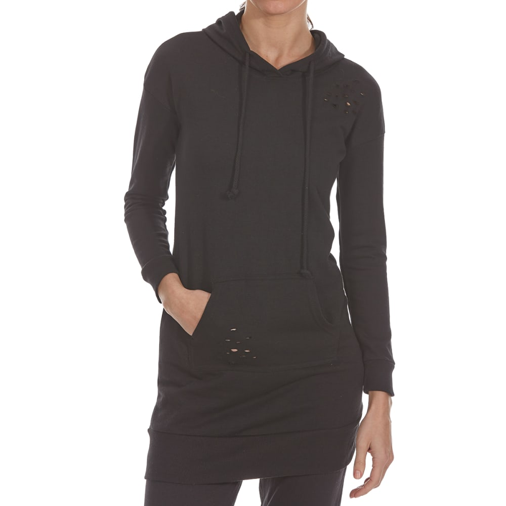 ULTRA FLIRT Juniors' Distressed French Terry Pullover Hoodie - 001-BLACK