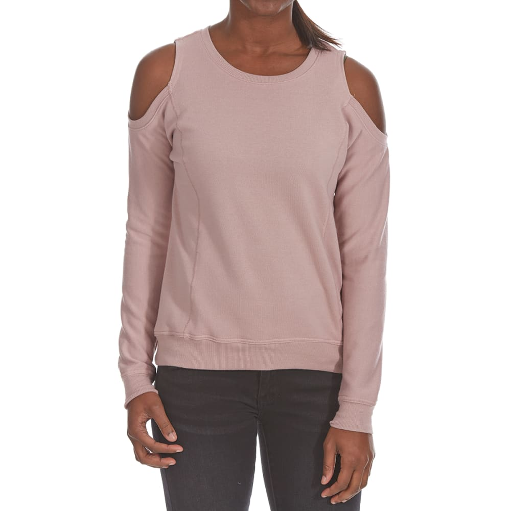 ULTRA FLIRT Juniors' Cold-Shoulder French Terry Long-Sleeve Pullover - 534-WOODROSE
