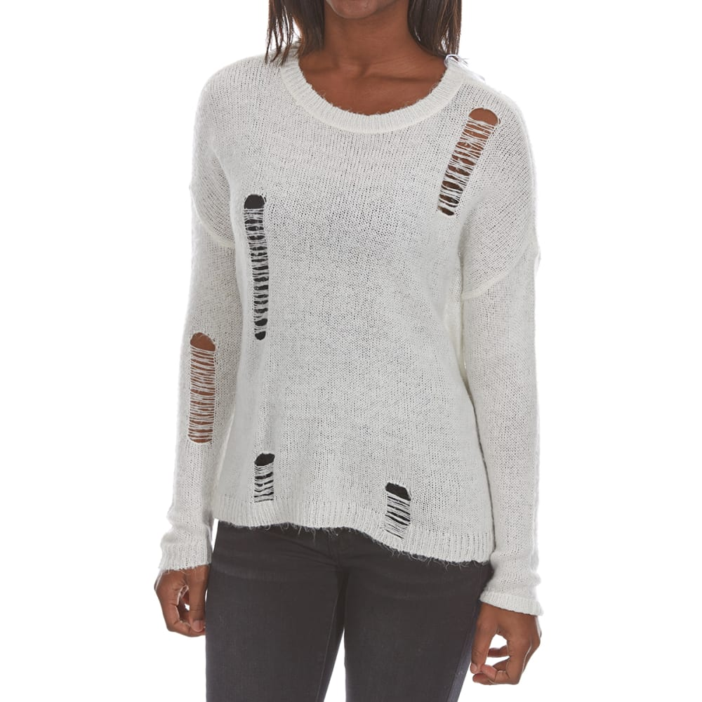 ULTRA FLIRT Juniors' Distressed Long-Sleeve Pullover Sweater - 101-IVORY