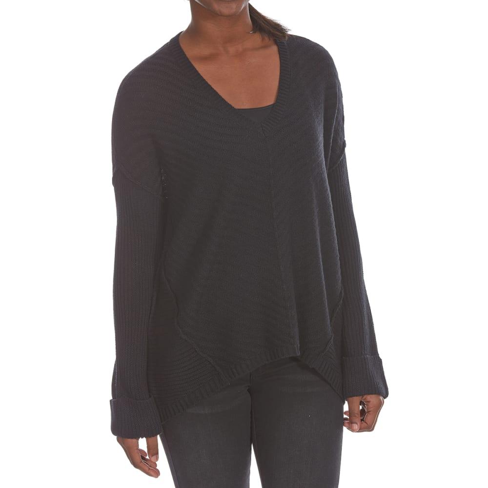 ULTRA FLIRT Juniors' Mixed Stitch Long-Sleeve Sweater - 001-BLACK