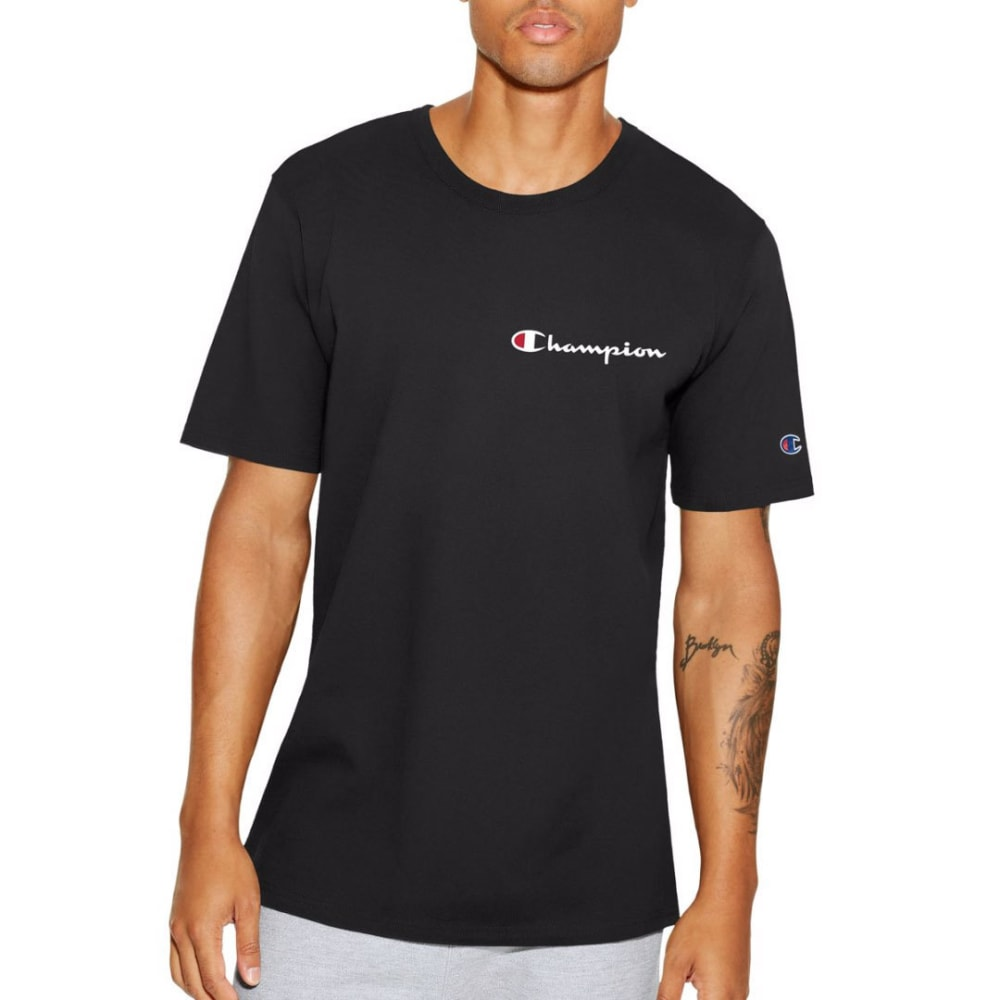 CHAMPION Men's Script Logo Heritage Short-Sleeve Tee - BLACK-BKC