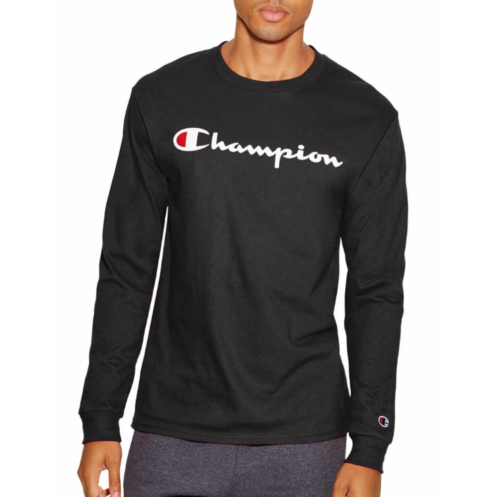 Champion Men's Life(R) Script Logo Long-Sleeve Tee - Black, XL