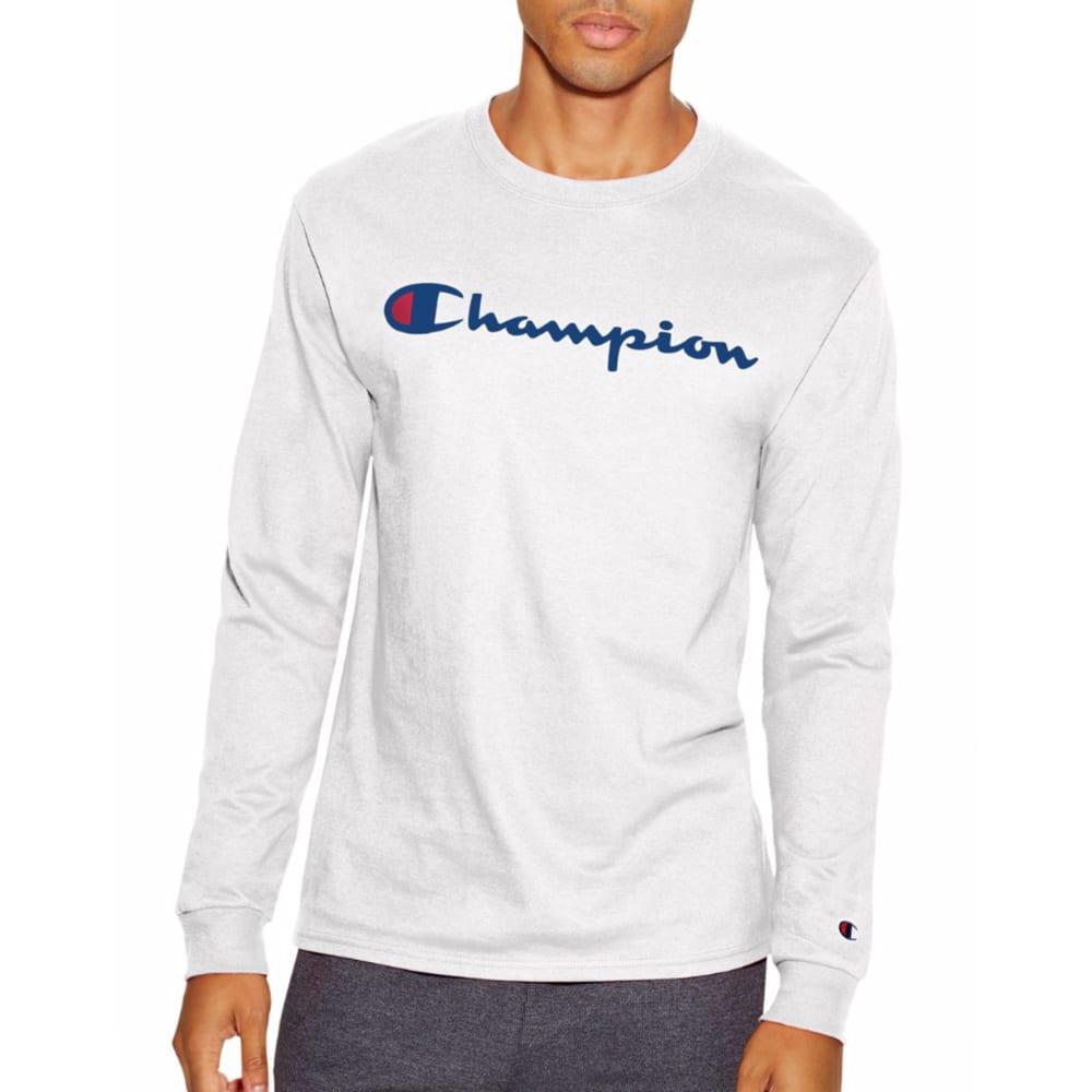 CHAMPION Men's Life® Script Logo Long-Sleeve Tee - WHITE-WHC