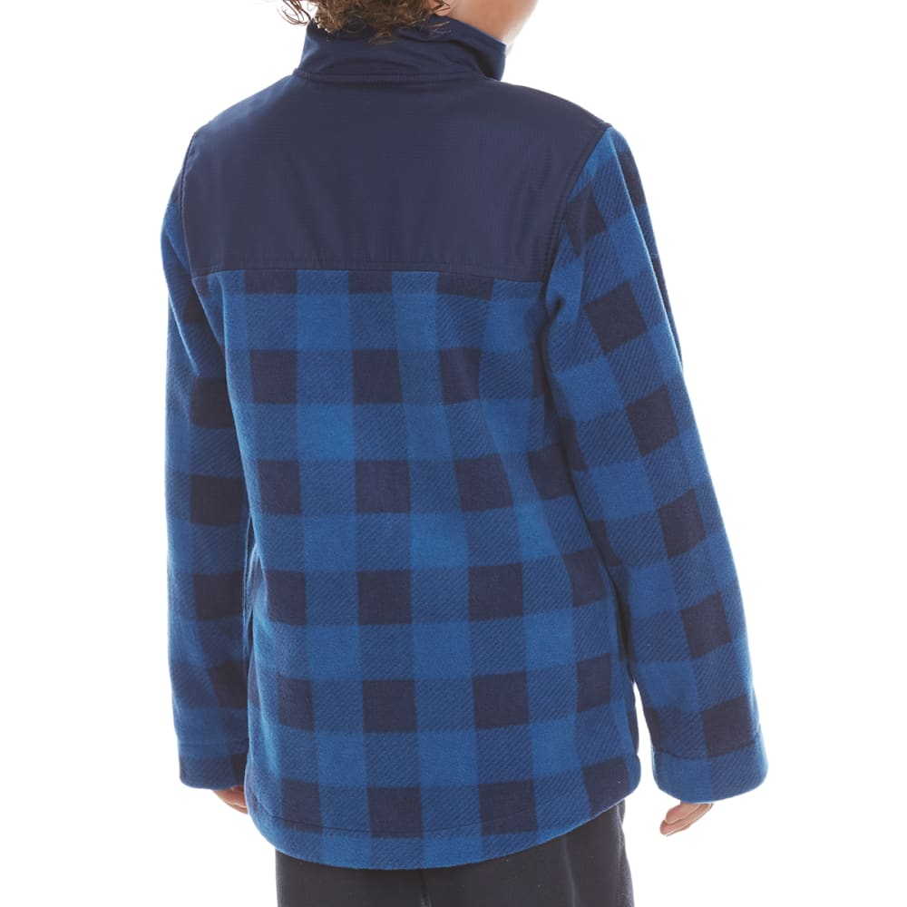 FREE COUNTRY Boys' Cedar Plaid Fleece Shirt Jacket - NORDIC BLUE