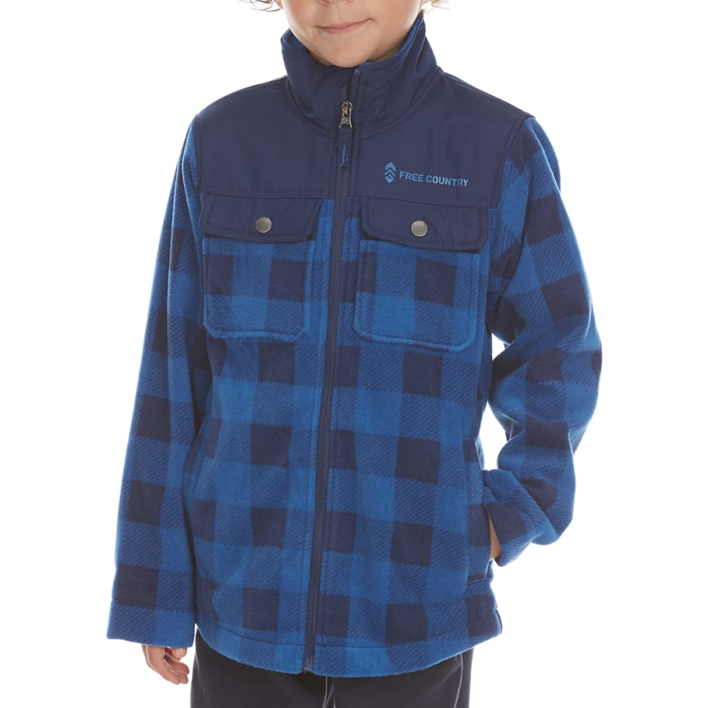 FREE COUNTRY Boys' Cedar Plaid Fleece Shirt Jacket - NORDIC BLUE