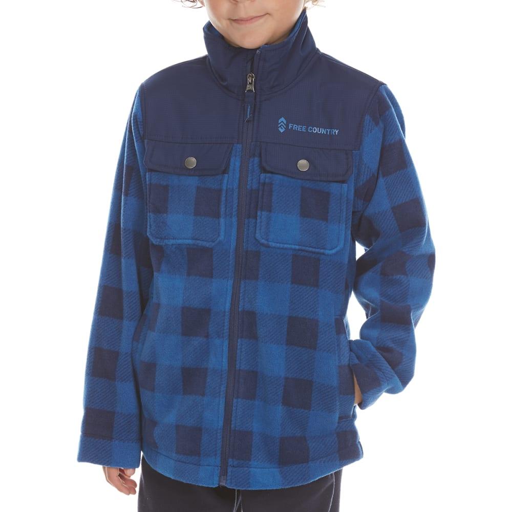 FREE COUNTRY Boys' Cedar Plaid Fleece Shirt Jacket S