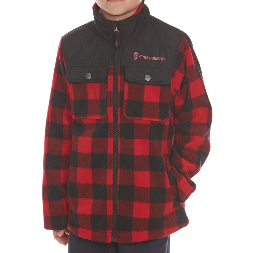 FREE COUNTRY Boys' Cedar Plaid Fleece Shirt Jacket M