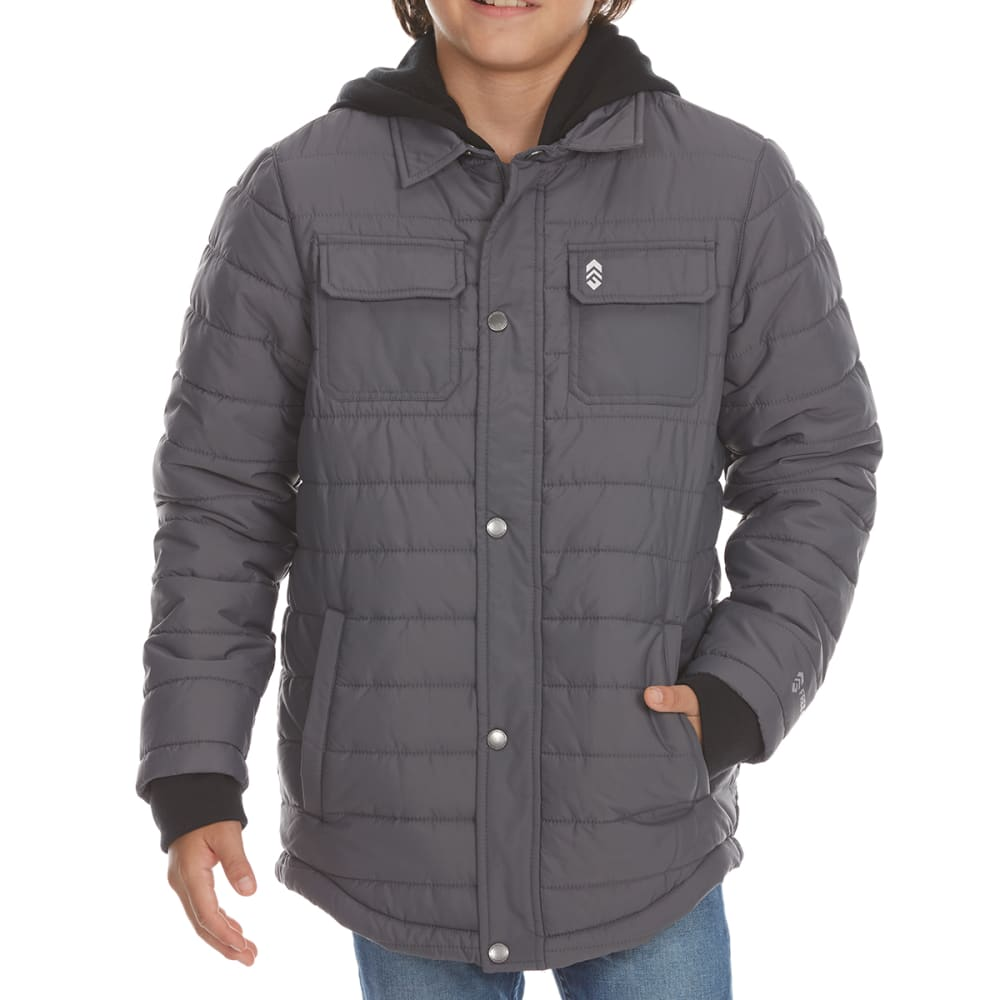 FREE COUNTRY Boys' Polyfill Traverse Quilted Shirt Jacket - CHARCOAL