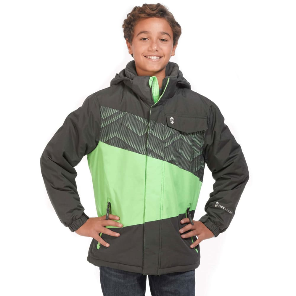FREE COUNTRY Big Boys' Printed Color-Block Boarder Jacket - GREEN GECKO