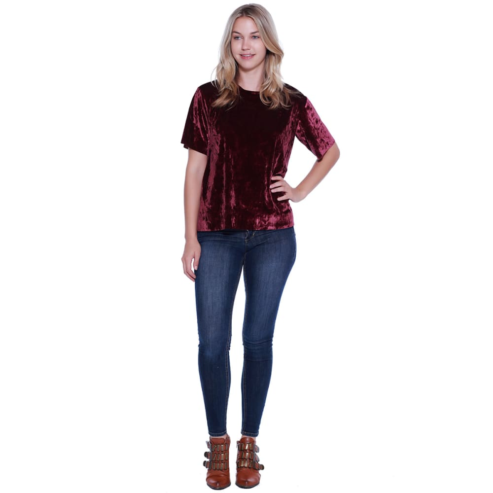 TAYLOR & SAGE Juniors' Velvet Short-Sleeve Top - ROP-ROSE PLUM