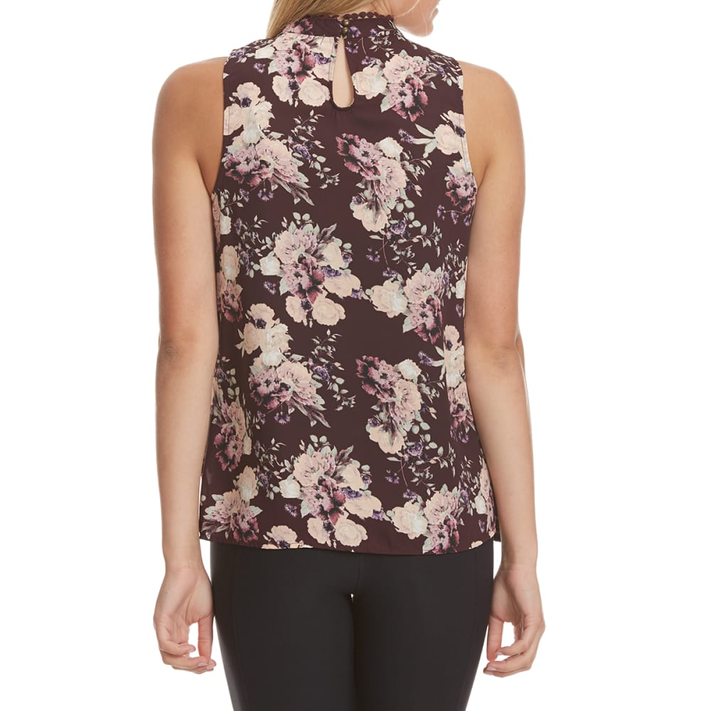 TAYLOR & SAGE Juniors' Floral Mesh Inset High-Neck Tank Top - ELP-ELDERBERRY PLUM