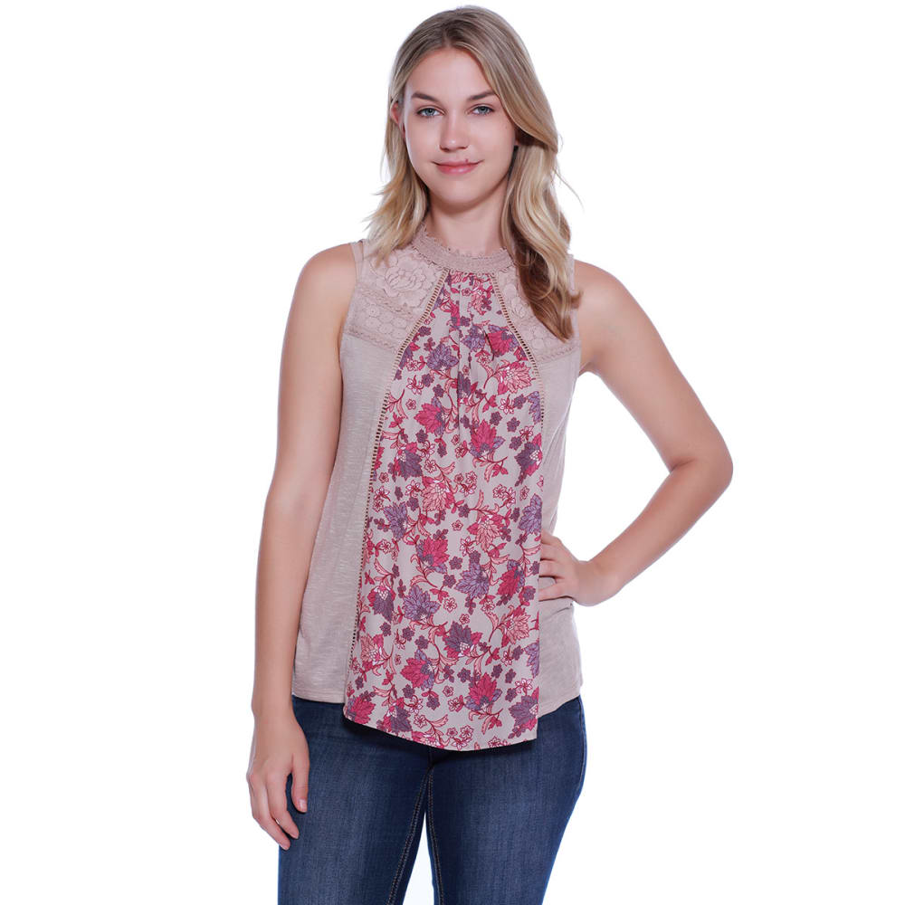 TAYLOR & SAGE Juniors' Floral Inset Hi-Neck Tank Top - COC-COCOA POWDER