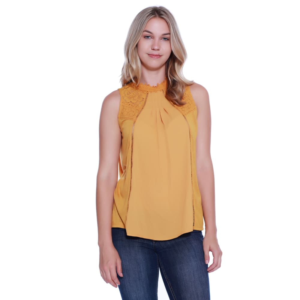 Taylor & Sage Juniors' Solid Lace Yoke Hi Neck Tank Top - Orange, S