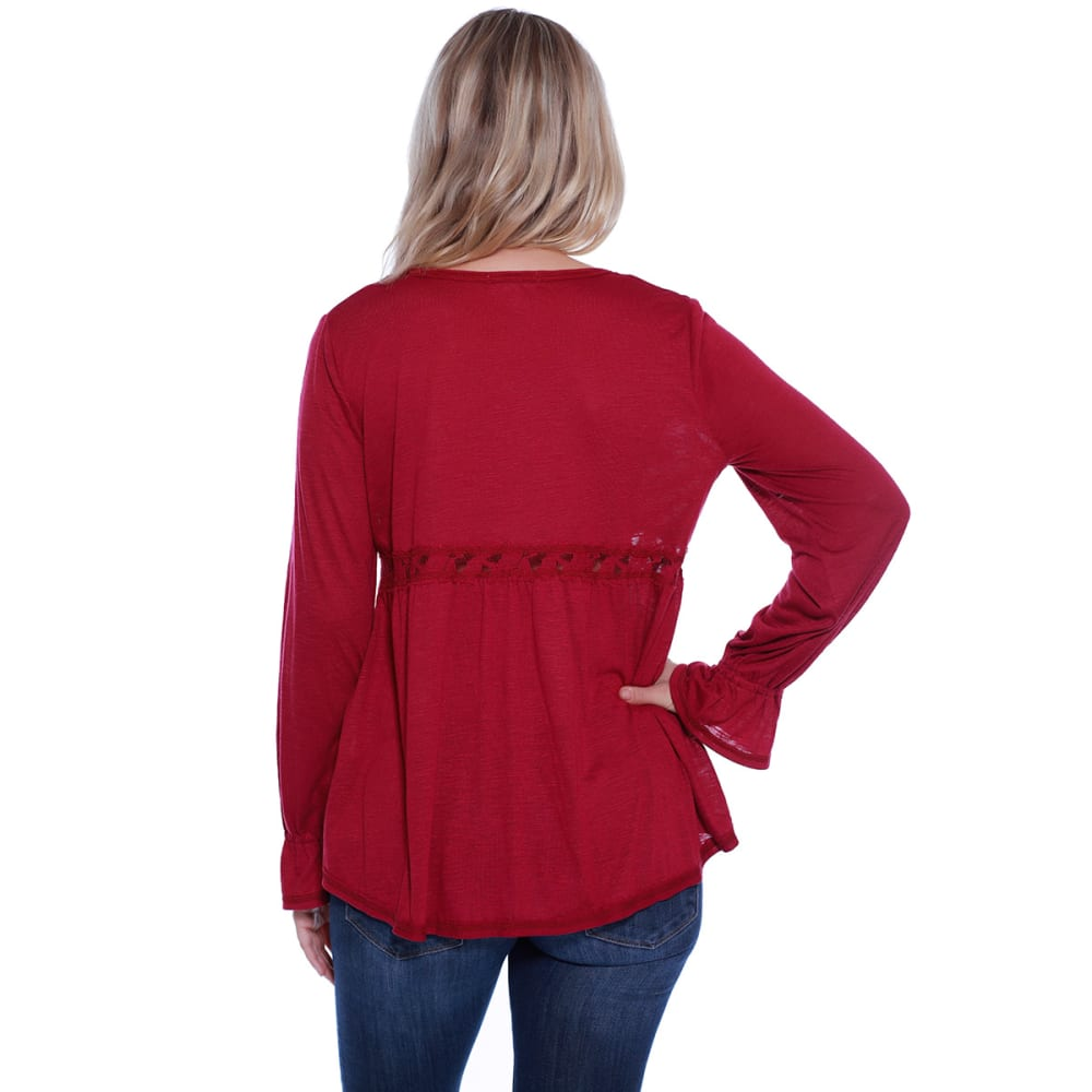 TAYLOR & SAGE Juniors' Embroidered Front V-Neck Long-Sleeve Top - SUS-SUSTAIN RED