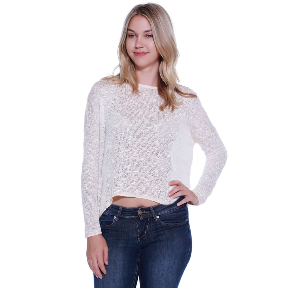 TAYLOR & SAGE Juniors' Flyaway Back Long-Sleeve Knit Top - NAT-NATURAL