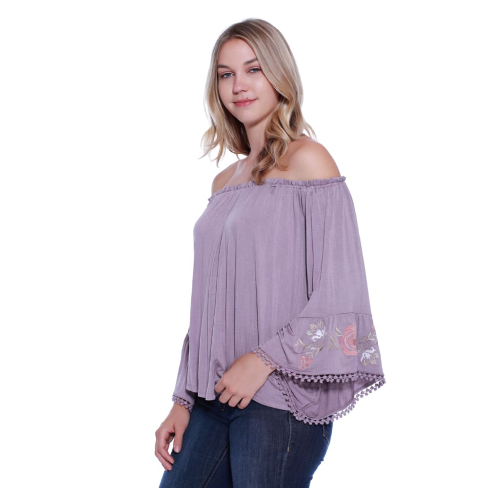 TAYLOR & SAGE Juniors' Embroidered Sleeve Off The Shoulder Woven Top - PSH-PLUM SHADOW