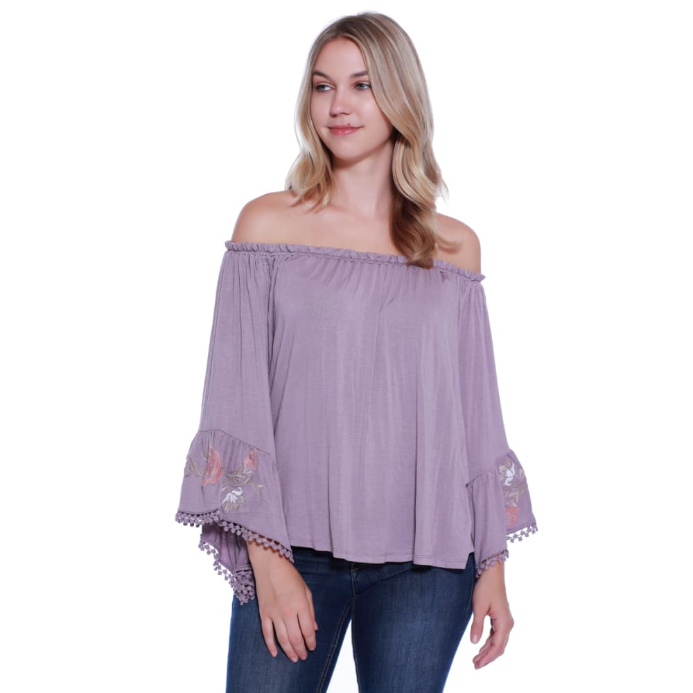 TAYLOR & SAGE Juniors' Embroidered Sleeve Off The Shoulder Woven Top S