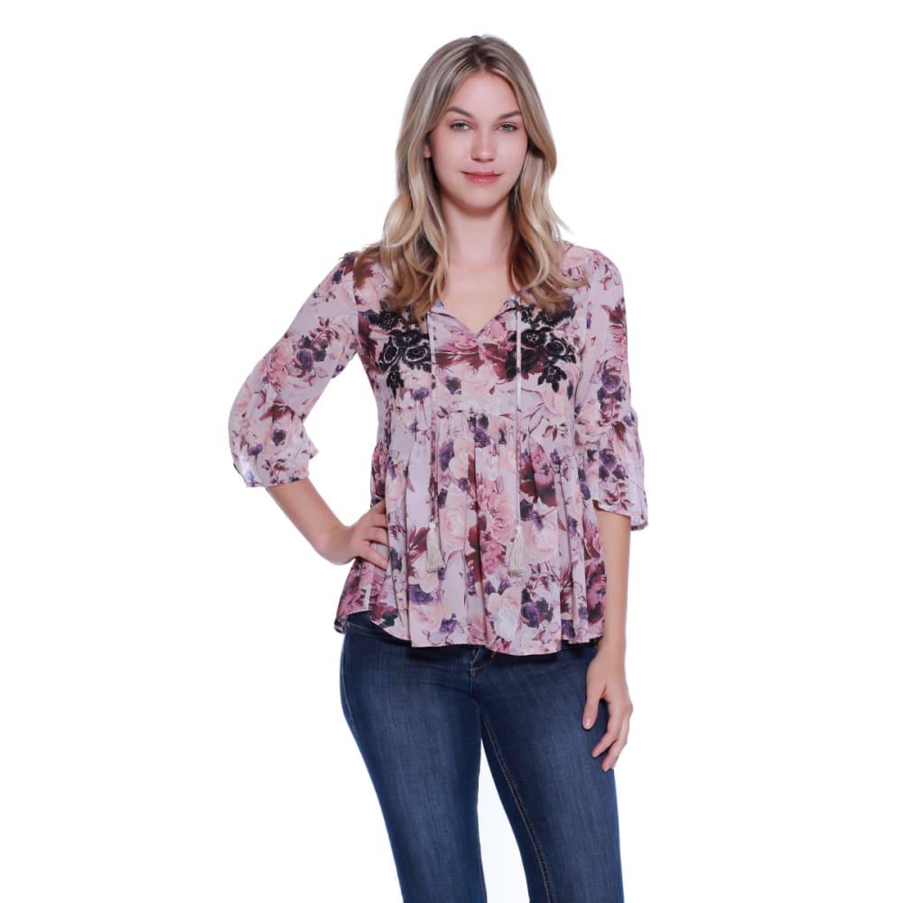 TAYLOR & SAGE Juniors' Floral Tassel Woven Shirt - COC-COCOA POWDER