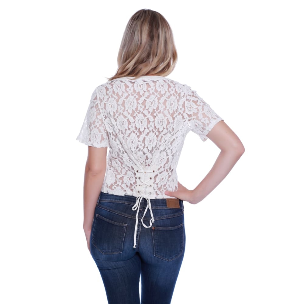 TAYLOR & SAGE Juniors' Corset Back Lace Short-Sleeve Top - NAT-NATURAL