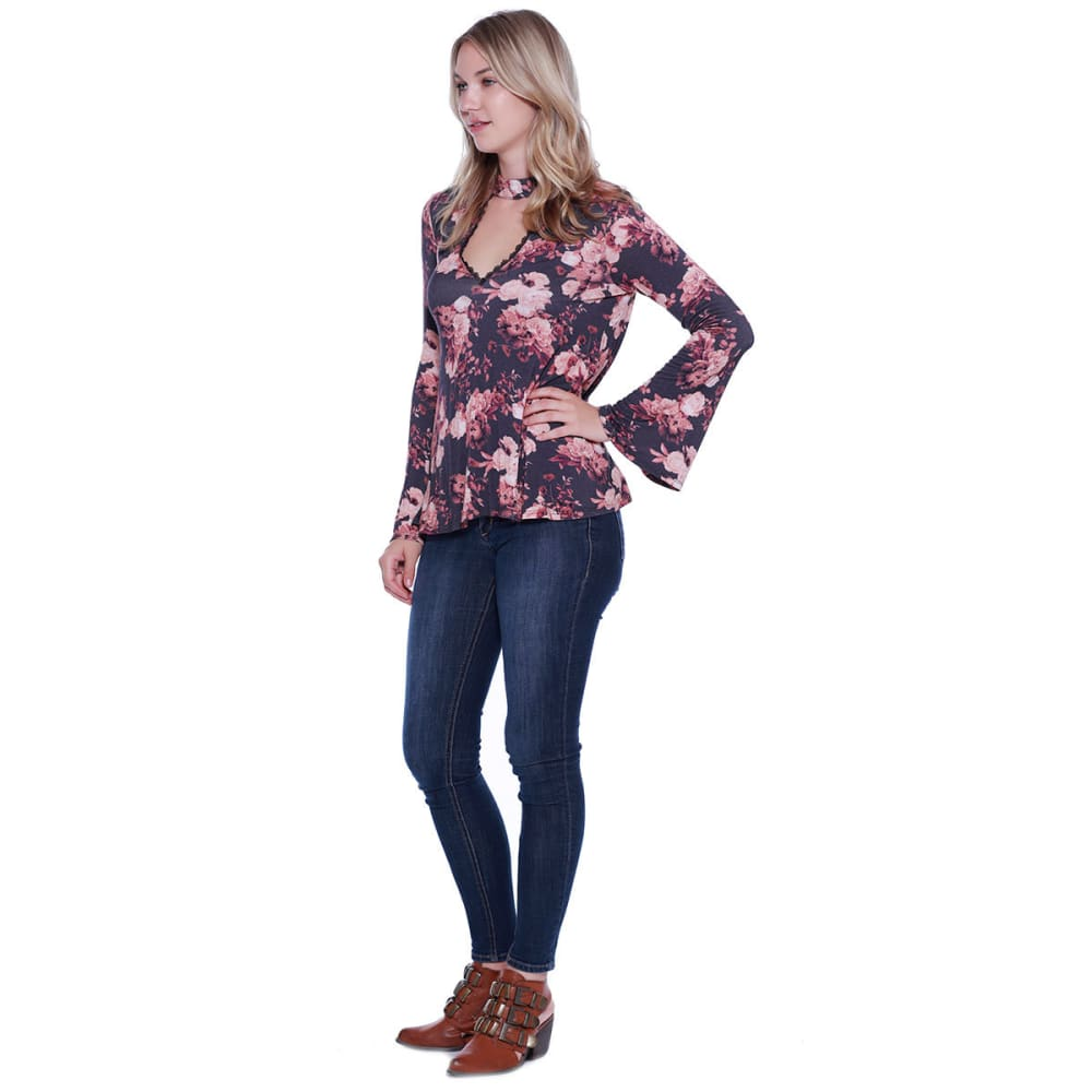 TAYLOR & SAGE Juniors' Floral Keyhole Long-Sleeve Woven Shirt - TAR-TAR