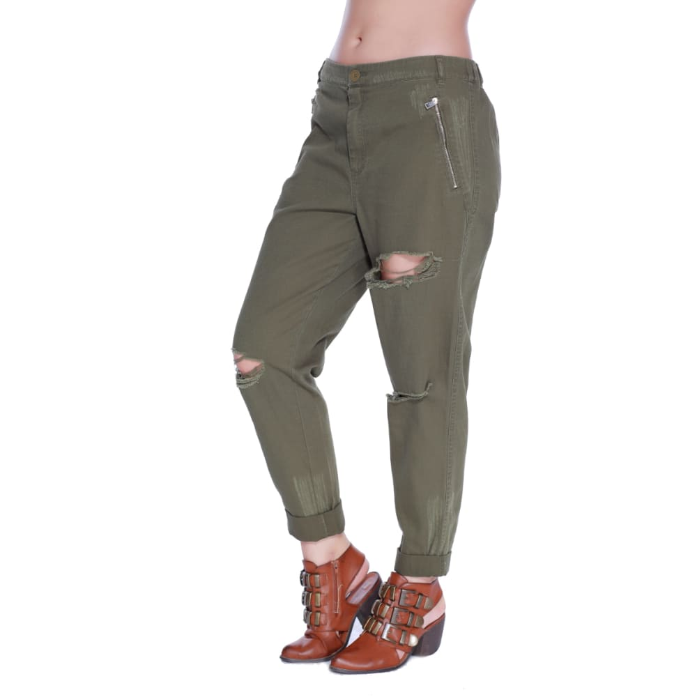 TAYLOR & SAGE Juniors' Destructed Twill Roll Cuff Pants - OLV-OLIVE