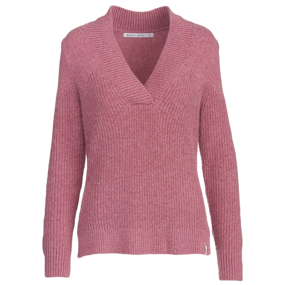WOOLRICH Women's Maple Way V-Neck Sweater - MESA ROSE HEATHER