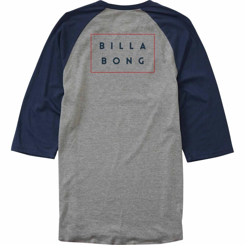 BILLABONG Men's Die Cut Raglan T-Shirt - GRY HTR/NVY-GHY