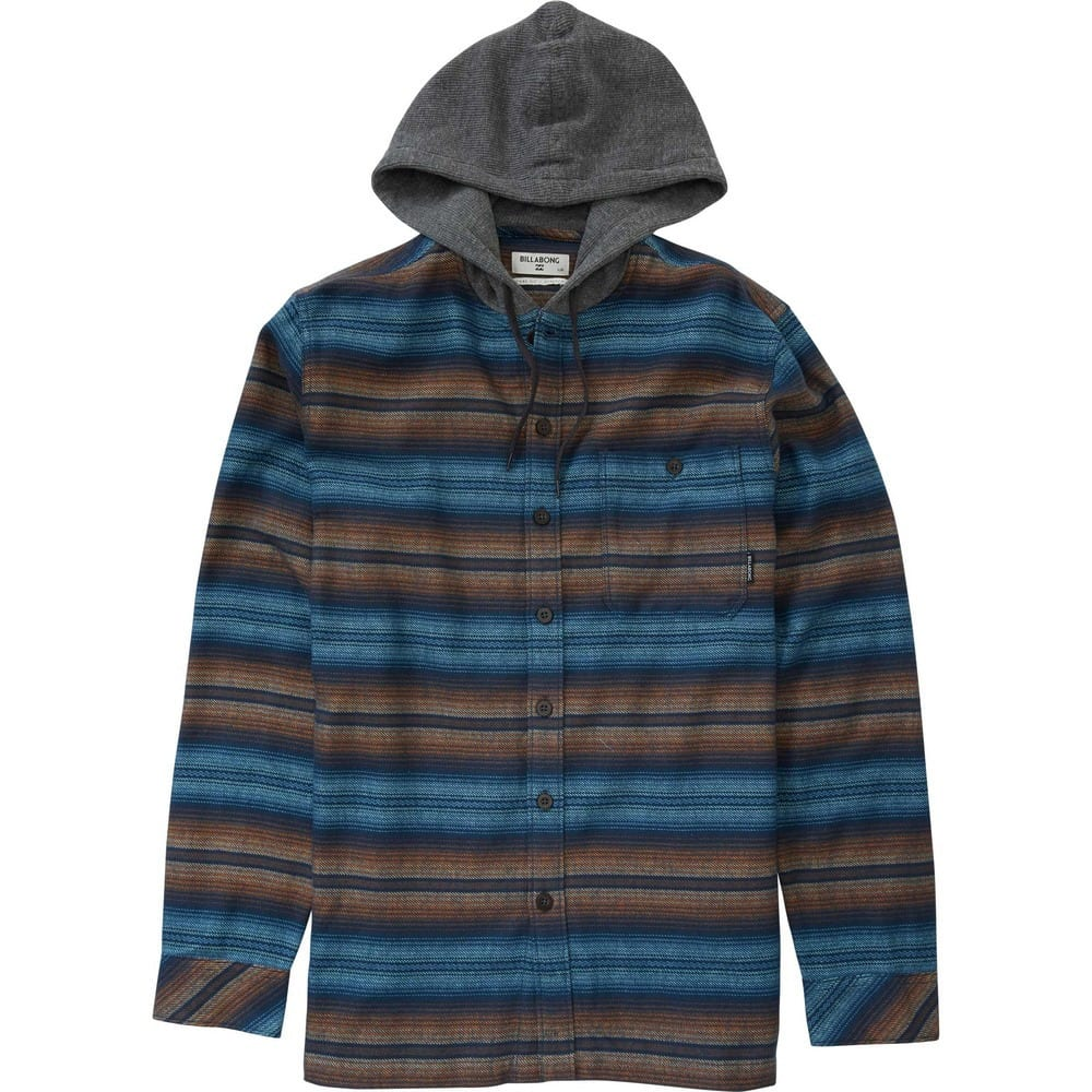 Billabong Men's Baja Hooded Flannel Shirt - Blue, L