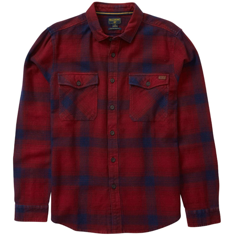 Billabong Men's Ventura Long Sleeve Flannel Shirt - Red, M
