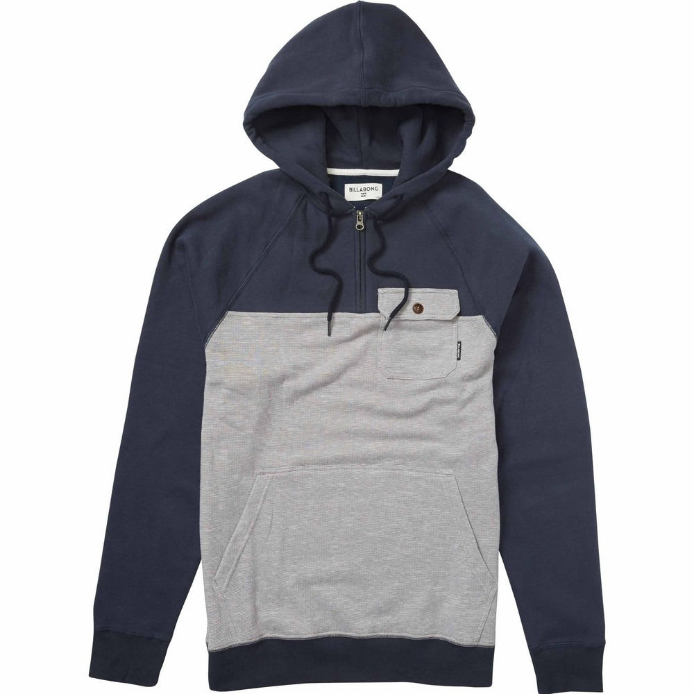 BILLABONG Men's Balance Half Zip Hoodie - NAVY HTR-NVH