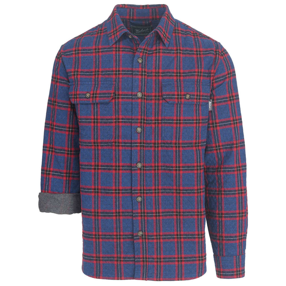 WOOLRICH Men's Old Valley Double Cloth Plaid Over Shirt - BLACK