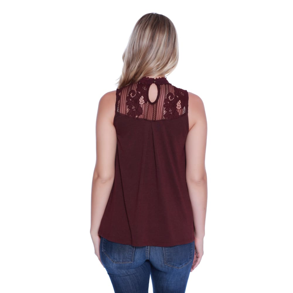 TAYLOR & SAGE Juniors' Rose Applique Lace Hi Neck Tank - BBA-BERRY BARK
