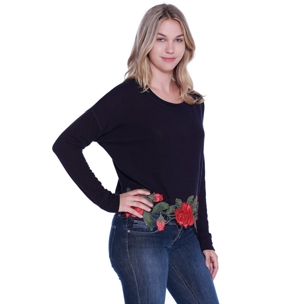 TAYLOR & SAGE Junior's Embroidered Hem Dolman Sleeve Top - BLL-BLACK LIGHT