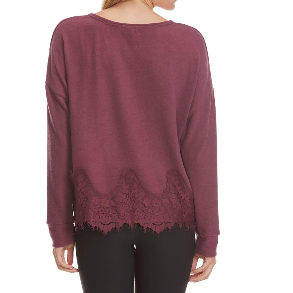 TAYLOR & SAGE Juniors' Lace Hem Knit Long-Sleeve Top - BNR-BRONSON RED