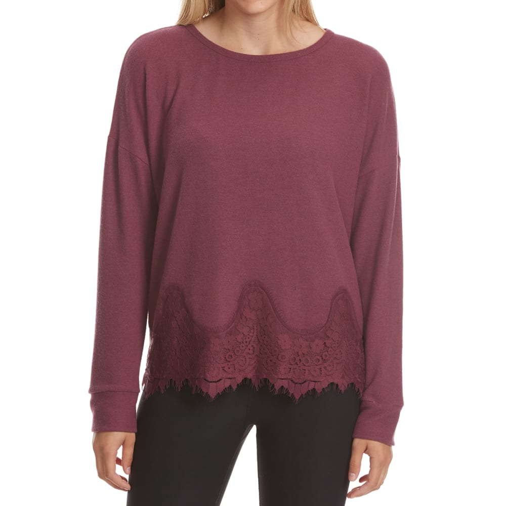 TAYLOR & SAGE Juniors' Lace Hem Knit Long-Sleeve Top - BNR-BRONSON RED