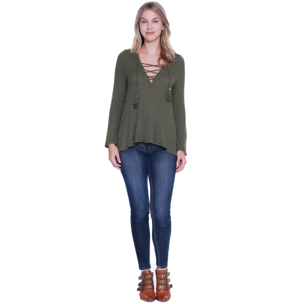 TAYLOR & SAGE Juniors' Crochet Back Lace Up Knit Top - RUV-RUGGED OLIVE