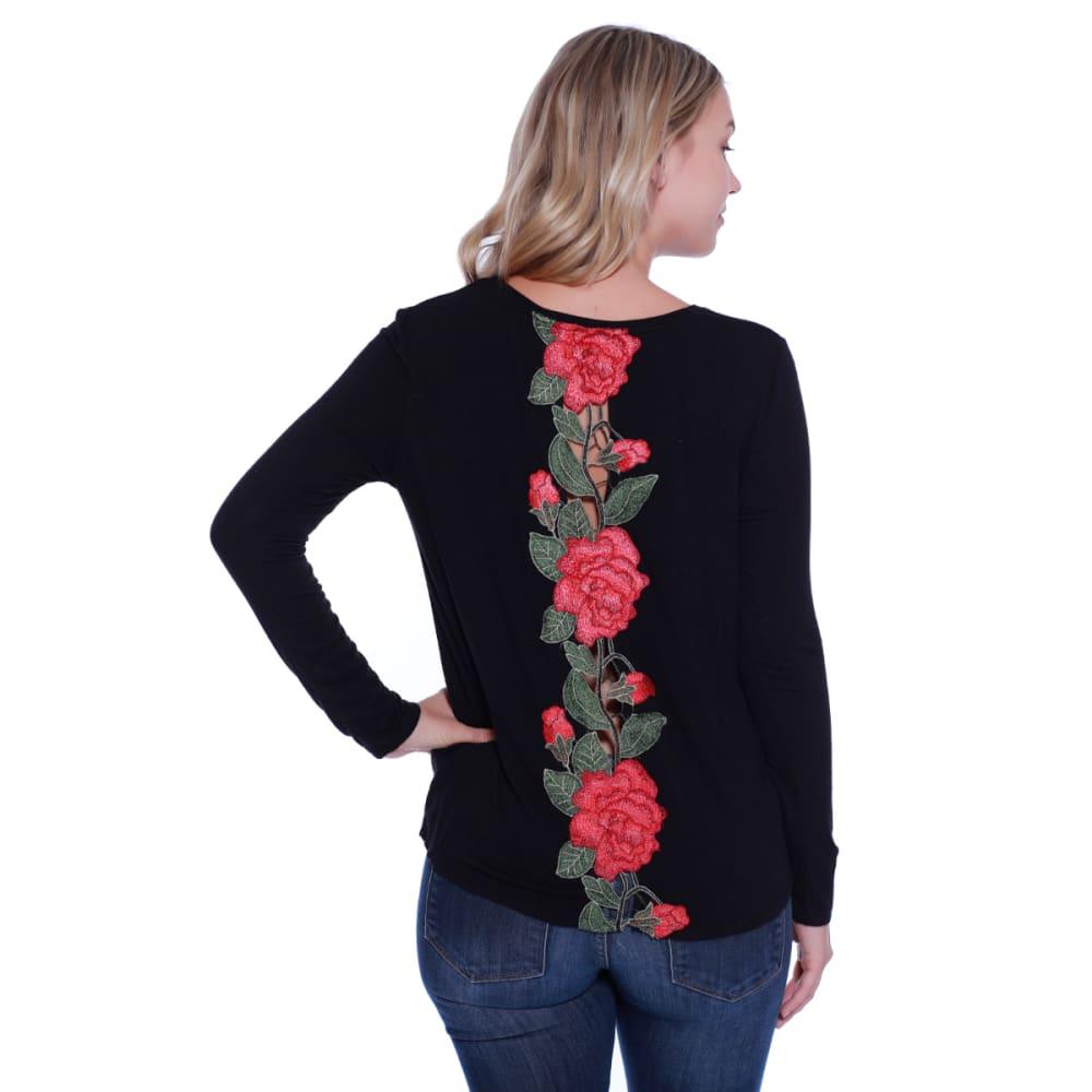 TAYLOR & SAGE Juniors' Embroidered Rose Back Twist Front Top - BLK-BLACK