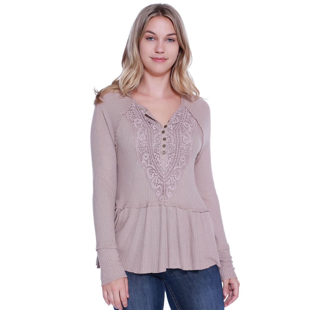 TAYLOR & SAGE Juniors' Lace Front Waffle Long-Sleeve Peplum Top - COC-COCOA POWDER