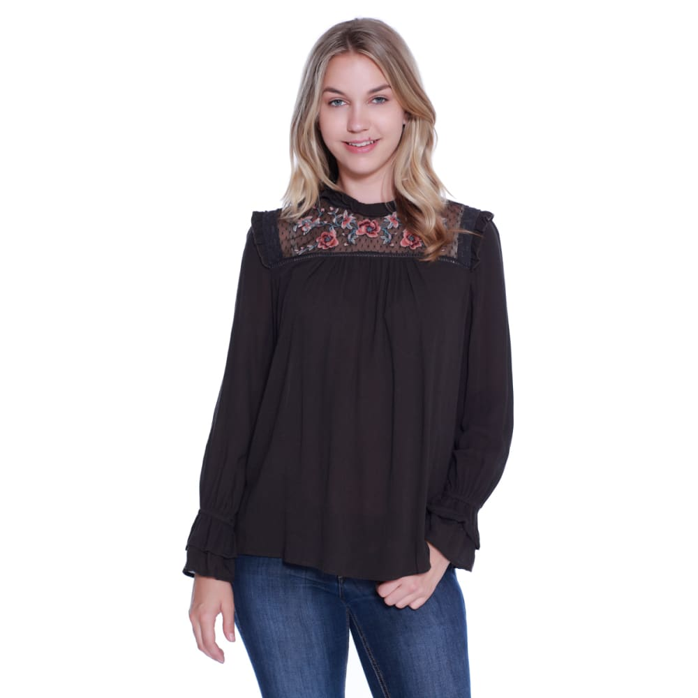TAYLOR & SAGE Juniors' Rose Embroidered High Neck Woven Top - TAR-TAR