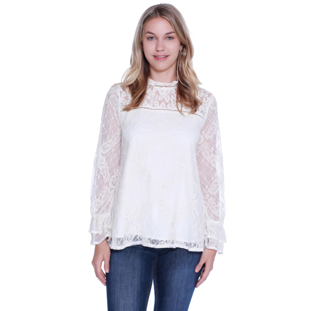 TAYLOR & SAGE Women's Lace High Neck Woven Top - NAT-NATURAL
