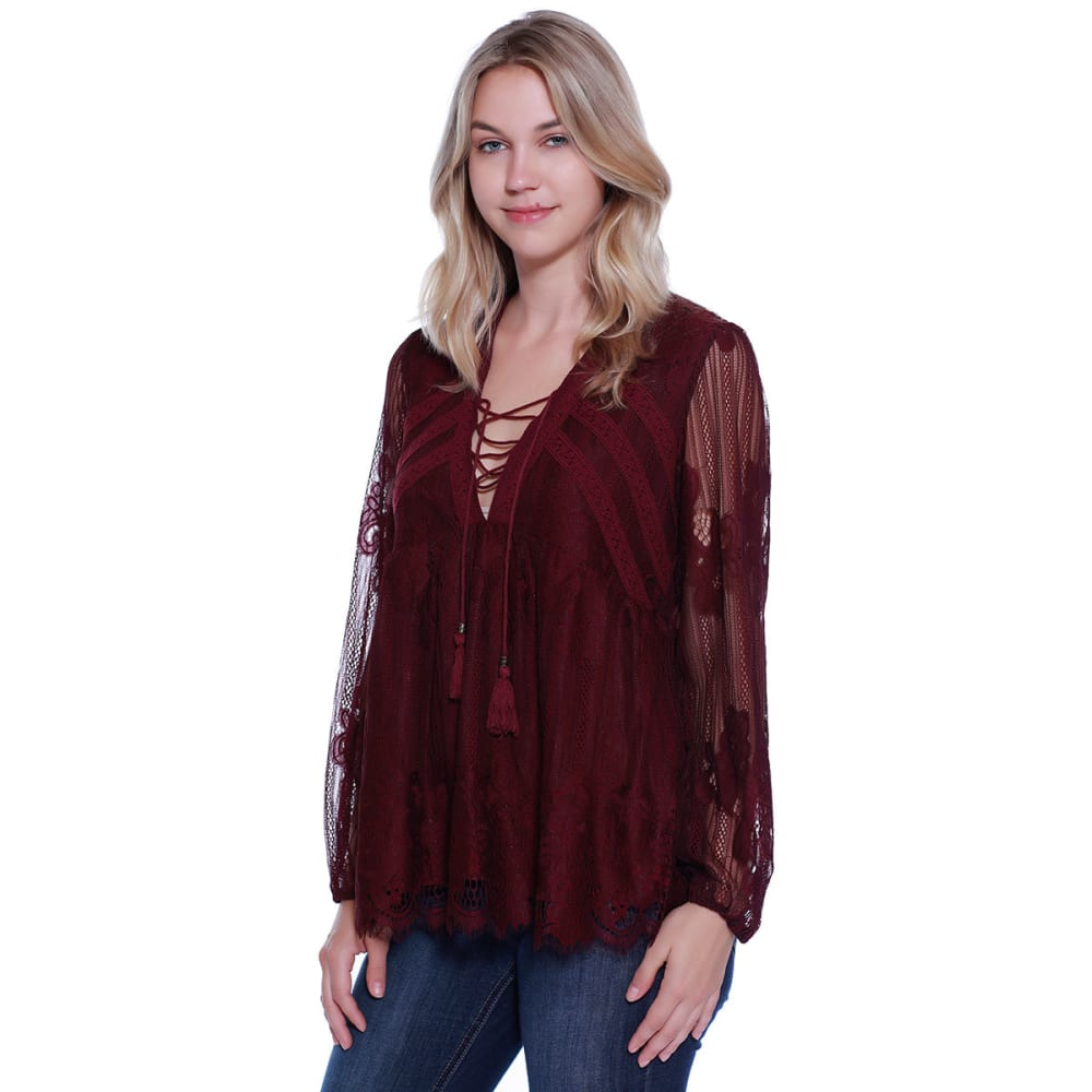 TAYLOR & SAGE Juniors' Lace Tie Neck Swing Top - ROP-ROSE PLUM