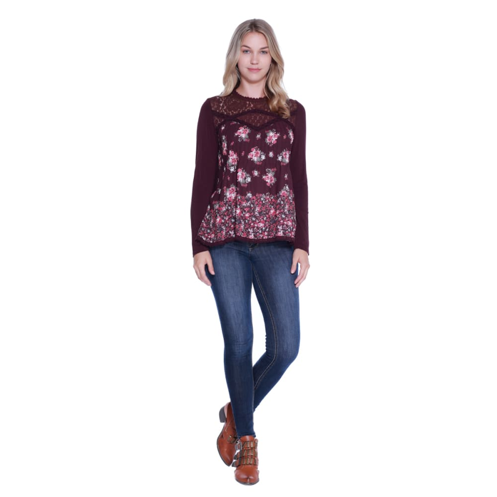 TAYLOR & SAGE Juniors' Floral Lace Peplum Woven Top - BBA-BERRY BARK