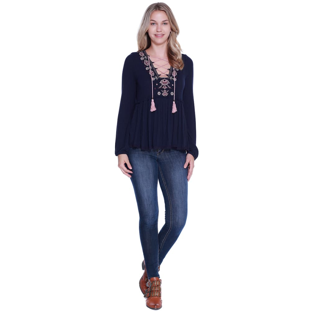 TAYLOR & SAGE Juniors' Lace-Up Embroidered Peasant Top - ING-INDIGO NIGHT