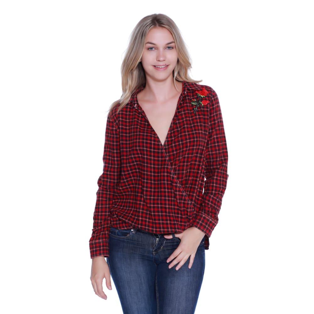 TAYLOR & SAGE Juniors' Rose Applique Wrap Front Flannel Top - VRE-VINTAGE RED
