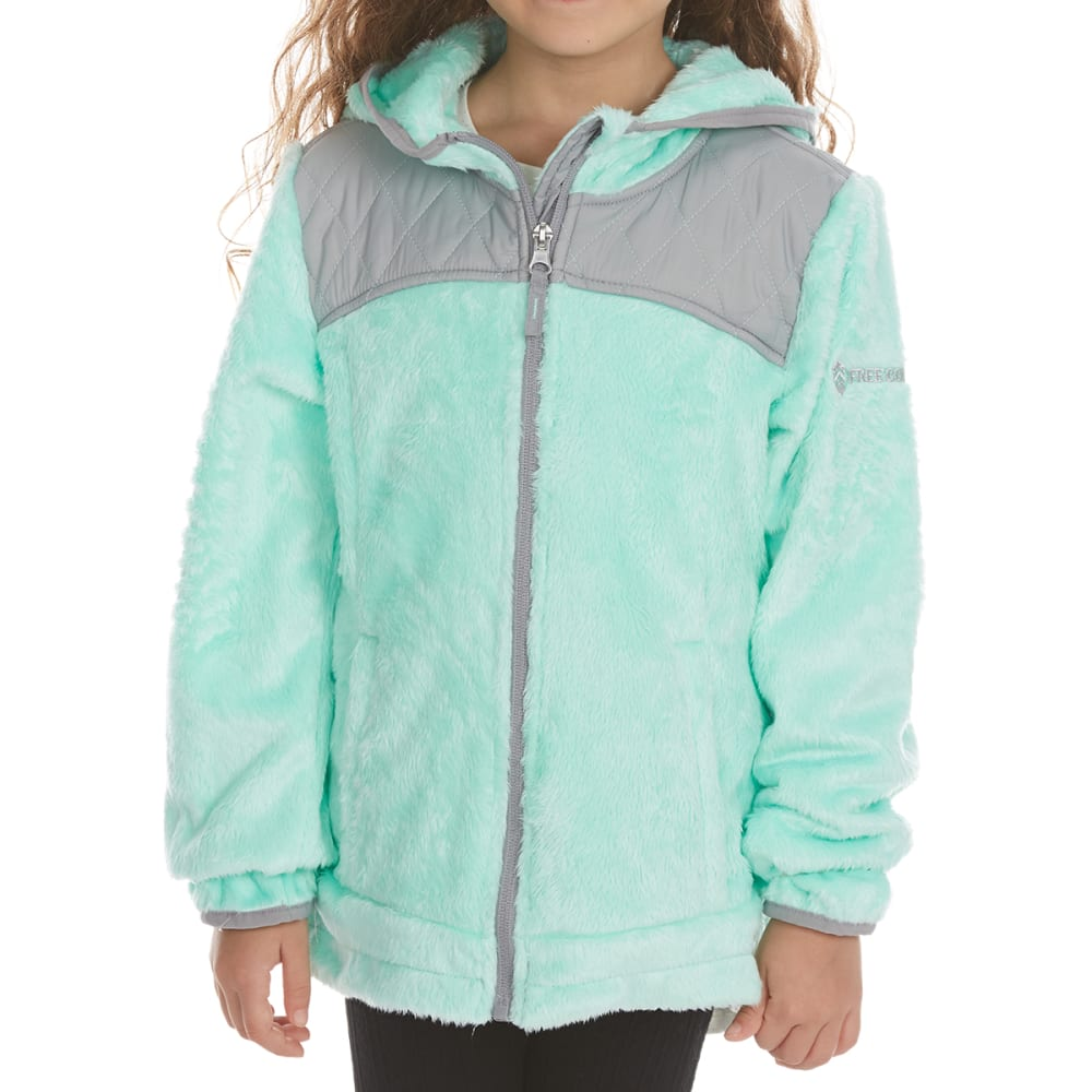 FREE COUNTRY Girls' Butterpile Overlay Sherpa Jacket - MINT REALITY