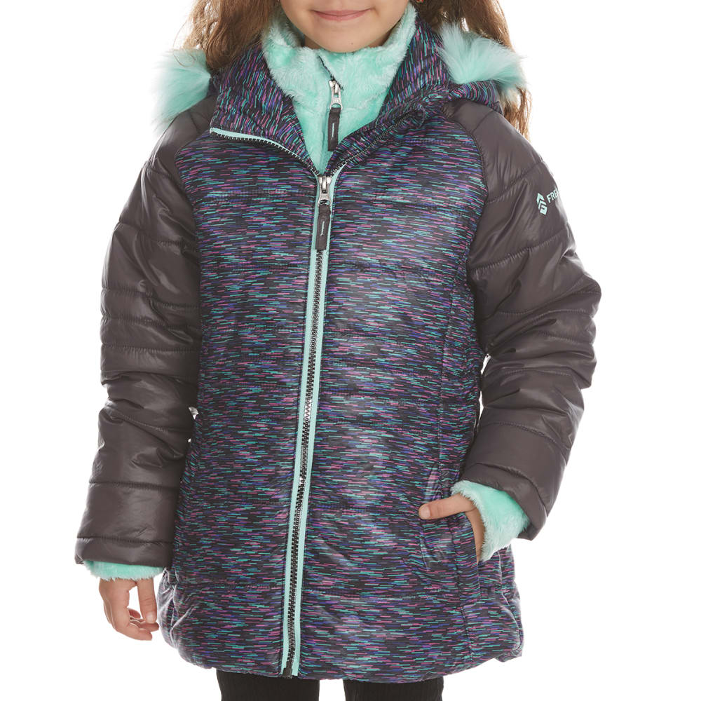 FREE COUNTRY Little Girls' Northern Lights Quilted Cire Bib Jacket - STEEL
