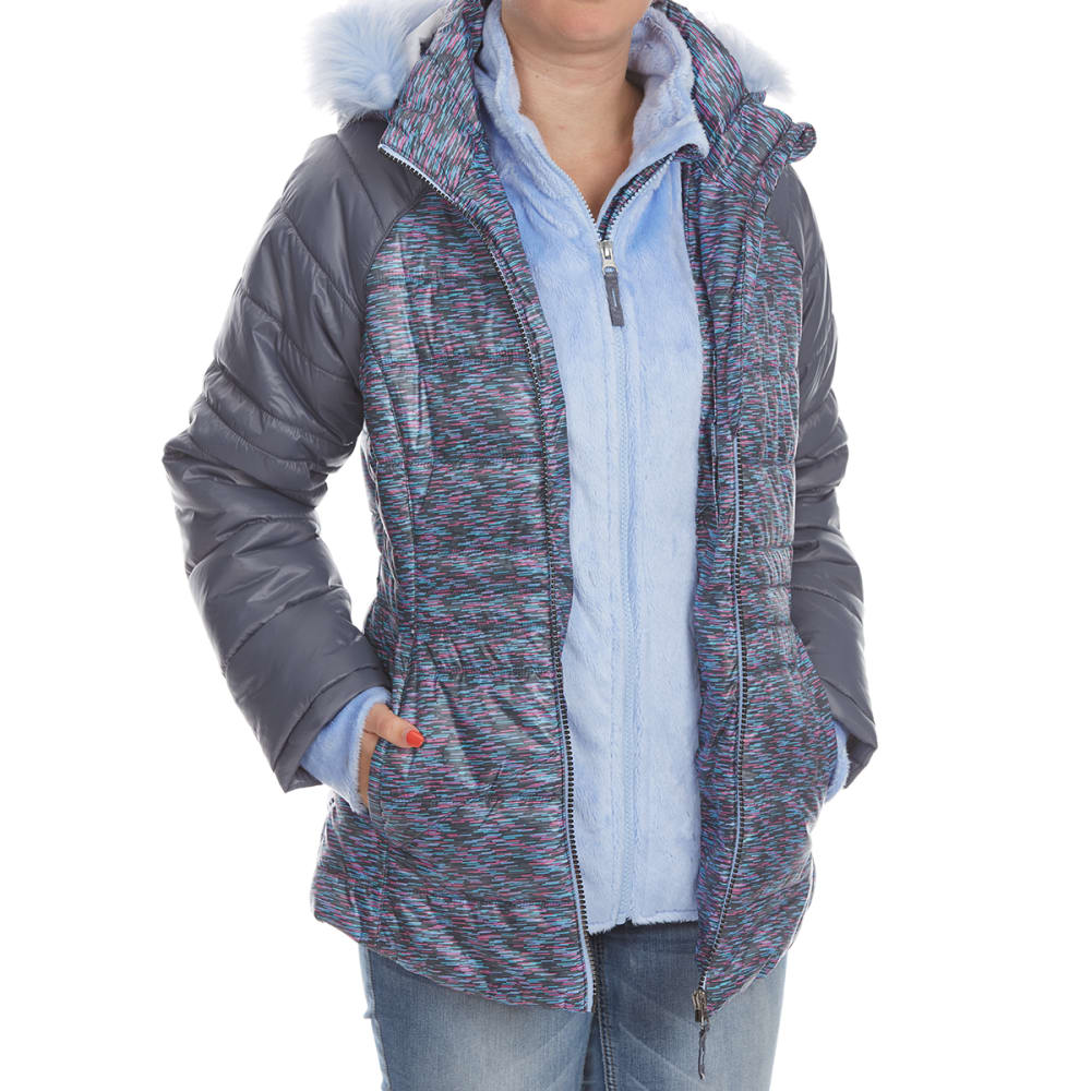 FREE COUNTRY Big Girls' Northern Lights Quilted Cire Bib Jacket - CLOUD GREY
