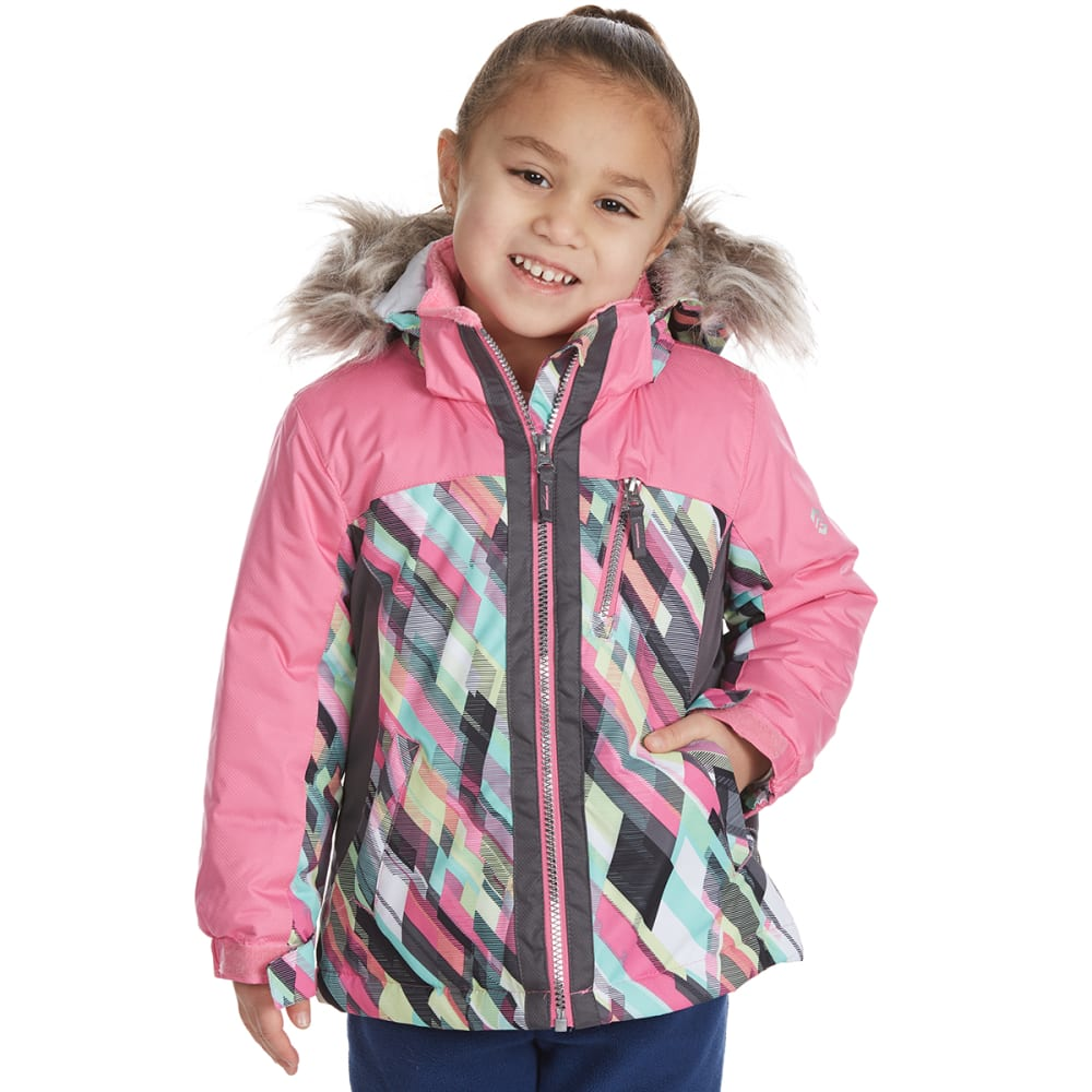 FREE COUNTRY Little Girls' Printed Color-Block Boarder Jacket - PINK SWIZZLE